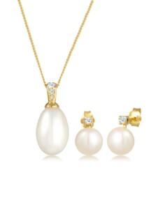 Schmuckset Klassisch Perle Diamant (0.11 Ct.) 585 Gelbgold DIAMORE Gold