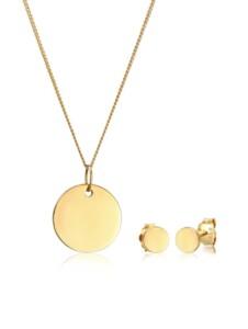 Schmuckset Kreis Geo Halskette Ohrstecker Basic 585 Gelbgold Elli Premium Gold