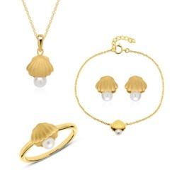 Schmuckset Muscheln aus vergoldetem 925er Silber Perlen