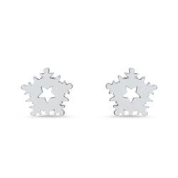 Schneeflocken Ohrstecker für Damen aus 925er Silber