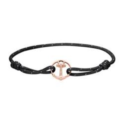 Schwarzes Nylonarmband Re/Brace mit Anker, rosé