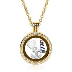 Set Medaillon Charms Sterlingsilber gold