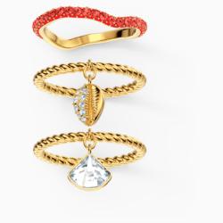Shell Ringset, rot, vergoldet