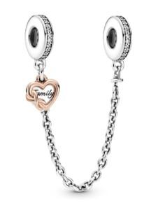 Sicherheitskette -Familienherz- Pandora Silberfarben::Rosé