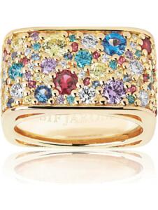 Sif Jakobs Jewellery Damen-Damenring Novara Quadrato 925er Silber Zirkonia Sif Jakobs gelbgold