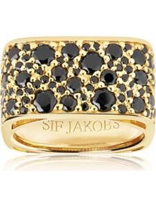 Sif Jakobs Jewellery Damen-Damenring Novara Quadrato 925er Silber Zirkonia Sif Jakobs gold/schwarz
