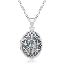 Silberkette mit Medaillon Blautopas
