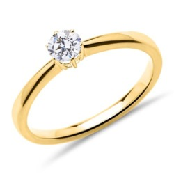 Solitärring aus 14K Gold mit lab-grown Diamant