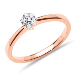 Solitärring aus 14K Roségold mit Brillant, lab-grown