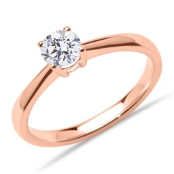 Solitärring aus 14K Roségold mit Diamant, lab-grown