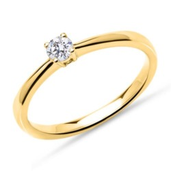 Solitärring aus 18K Gold mit Brillant, lab-grown