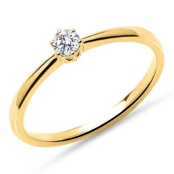 Solitärring aus 18K Gold mit Diamant, lab-grown