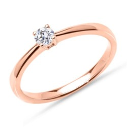 Solitärring aus 585er Roségold mit Diamant, lab-grown