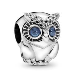 Sparkling Owl Charm aus Sterlingsilber mit Zirkonia