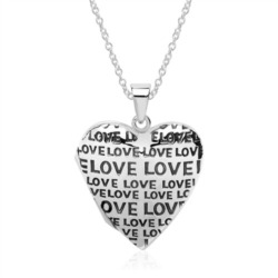 Sterlingsilber Kette mit Herzmedaillon Love gravierbar