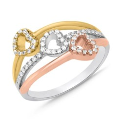 Sterlingsilber Ring Herz-Design Zirkonia Tricolor