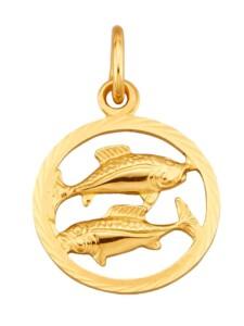 Sternzeichen-Anhänger Fische in Gelbgold 585 KLiNGEL Gelbgoldfarben
