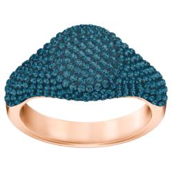 Stone Signet Ring, blau, Rosé vergoldet