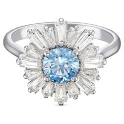 Sunshine Ring, blau, rhodiniert