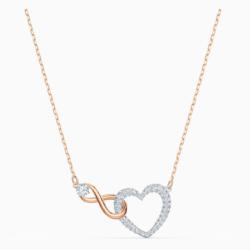 Swarovski Infinity Heart Halskette, weiss, Metallmix