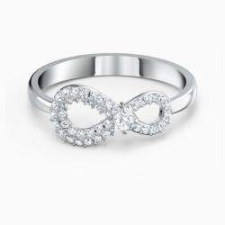 Swarovski Infinity Ring, weiss, rhodiniert