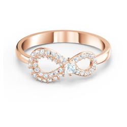 Swarovski Infinity Ring, weiss, Rosé vergoldet
