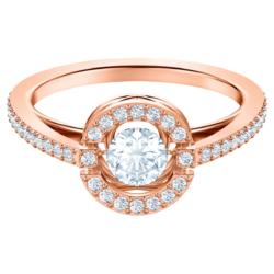 Swarovski Sparkling Dance Round Ring, weiss, Rosé vergoldet