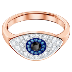 Swarovski Symbolic Evil Eye Ring, blau, Rosé vergoldet