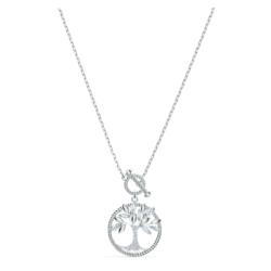 Swarovski Symbolic Tree of Life Halskette, weiss, rhodiniert
