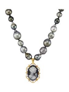 Tahiti-Zuchtperlen-Collier Diemer Perle Grau