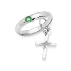 Taufring 925 Silber Smaragd Kreuzanhänger