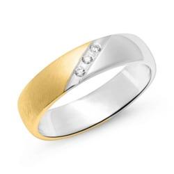 Teilvergoldeter 925er Silberring für Damen mit Zirkonia