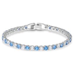 Tennis Deluxe Armband, blau, rhodiniert