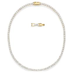 Tennis Deluxe Halskette, weiss, vergoldet