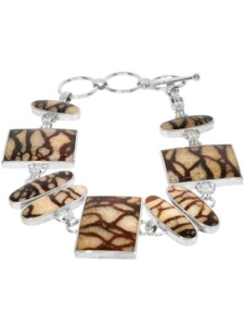 Tigerkoralle Armband 925 Silber beige 1001 Diamonds beige