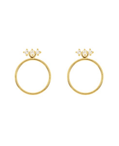 TOPAZ CIRCLE|Ear Jackets Gold