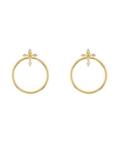 TOPAZ CROSS|Ear Jackets Gold