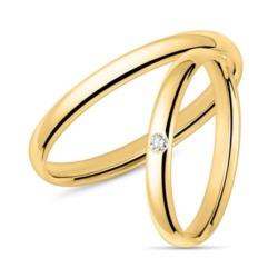 Trauringe aus 585er Gold mit Diamant