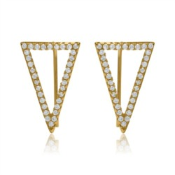 Triangle Ohrhänger 925er Silber Zirkonia gold