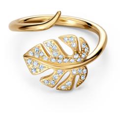 Tropical Leaf Offener Ring, weiss, vergoldet