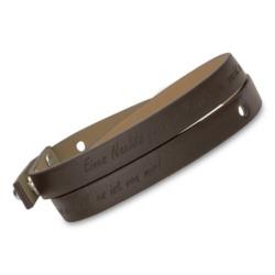 Unisex-Wickelarmband dunkelbraun Gravur möglich