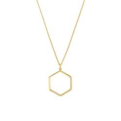 Vergoldete 925er Silberkette Hexagon mit Zirkonia