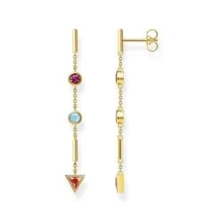 Vergoldete Ohrhänger aus Silber mit bunten Steinen