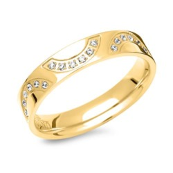 Vergoldeter Edelstahl Ring mit 18 Steinen