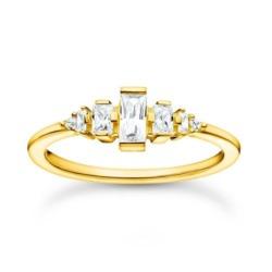 Vergoldeter Silberring mit Steinbesatz