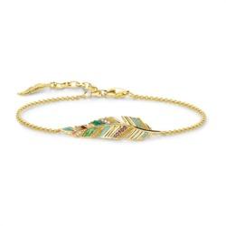 Vergoldetes 925er Silberarmband Feder