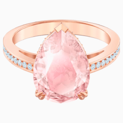 Vintage Cocktail Ring, rosa, Rosé vergoldet