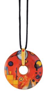 Wassily Kandinsky: Porzellan-Anhänger 'Schweres Rot' mit Stoffband