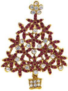 Weihnachtsbrosche 'Tannenbaum', Brosche, Schmuck