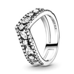 Wisbone Ring für Damen aus Sterlingsilber mit Zirkonia